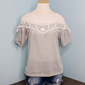 Lace Gray Tee Shirt